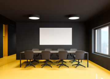 Black and yellow meeting room, horizontal poster