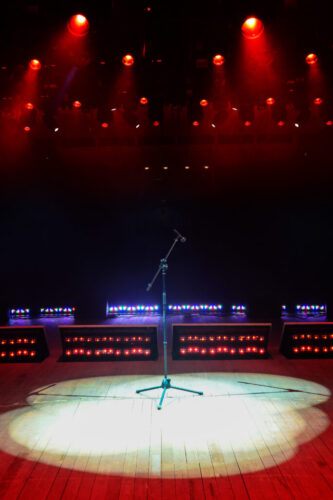 Concert stage with red light